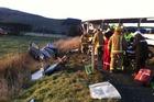 Emergency services attending a fatal crash in Gebbies Valley. Photo / Dean Schroeder