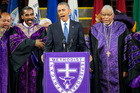 US President Barack Obama sings Amazing Grace during a service honoring the life of Rev. Clementa Pinckney. Photo / AP