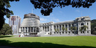 Bowen House, the Beehive and Parliament Building in Wellington today. Photo / Mark Mitchell