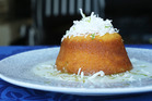 Coconut and lime syrup cake. Photo / Doug Sherring