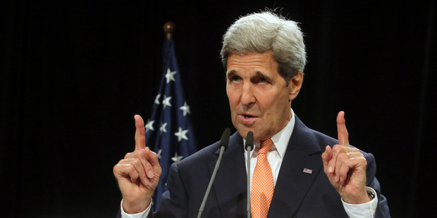 U.S. Secretary of State John Kerry delivers a statement on the Iran talks deal at the Vienna International Center in Vienna, Austria. Photo / AP