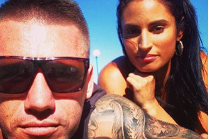 Shaun Kenny-Dowall and his partner Jessica Peris in a photo sourced from his Instagram @skennydowall SUN 19Jul15.