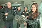 Four of the five-strong Hawke's Bay contingent in the Junior White Sox team. Head coach Kevin Gettins, left, Deanna Paul, Emma Houkamau and Brooke Eden. Photo / Warren Buckland
