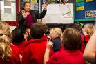 Mereana Marsters helps to teach te reo to Manuka Primary School in Glenfield. Photo / Regan Schoultz