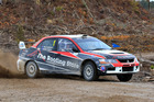 Phil Campbell and Venita Fabbro (Mitsbishi Lancer Evo9) on their way to victory in the Tauranga Clubmans Rally yesterday. Photo/Greg Henderson