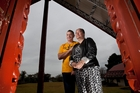 Dean James and his wife and organiser of the Nia Glassie memorial night, Lauren at Te Koutu marae. Photo / Ben Fraser