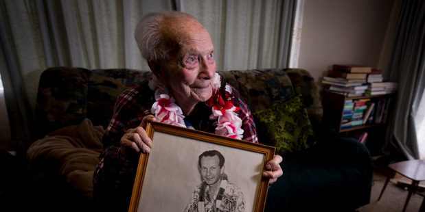 Dance band legend Bill Sevesi at his home in Mt Albert. (New Zealand Herald photograph by Dean Purcell)