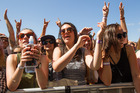 Crowds in front of the Mysterex Stage at St Jerome's Laneway Festival. Photo / Jason Dorday, NZ Herald
