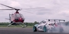 Intense chase between helicopter and drifting race car