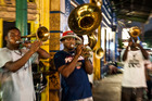 A brass band plays on the famous Frenchmen Street in New Orleans. Photo / Supplied