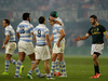 South Africa's Willie le Roux, right. reaches out to congratulate Argentina's players at the end of their Rugby Championship match at Kings Park stadium. Photo / AP.