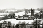 Widecombe-in-the-Moor in Devon blanketed in snow. Photo / Getty Images