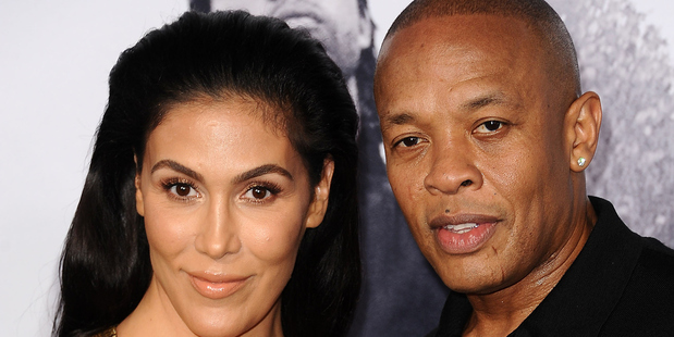 Dr. Dre and his wife Nicole Young at the premiere of Straight Outta Compton. Photo / Getty Images