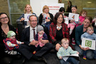 Labour leader Andrew Little and MP Sue Moroney, mixing with supporters of the new paid parental leave bill. Photo / Mark Mitchell