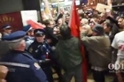 Protesters jostled with police last night as they tried to disrupt a National Party fundraising event in Dunedin.  Trans Pacific Partnership opponents hoped Prime Minister John Key would enter through the Savoy restaurant's public entrance, but it is understood he used another door.  Mr Key had earlier been guest of honour at the Otago Daily Times Class Act event at the Dunedin Public Art Gallery in the Octagon. Source: ODT