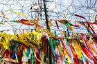 Millions of prayer ribbons hang from the DMZ fence. Photo / 123RF