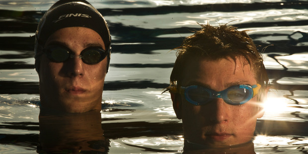 Brothers Jack Weston, 17, (left) and Paddy Baylis, 15, have been picked to represent New Zealand at a swimming event in Australia. Photo / Stephen Parker