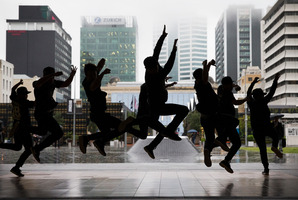 Hip-hop dancers performing at at Britomart's Takutai Square for the opening of Money week. 31 August 2015. New Zealand Herald photograph by Nick Reed