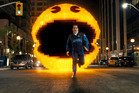Josh Gad as Ludlow chased by Pac-Man in Pixels. Photo / AP