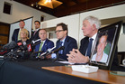 Solid Energy chairwoman Pip Dunphy, far left, at the press release announcing that the Pike River Mine re-entry would not go ahead. Photo / Mark Mitchell