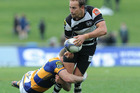 Andrew Horrell looks to offload during Hawke's Bay's Ranfurly Shield defence against Bay of Plenty. Photo / Getty