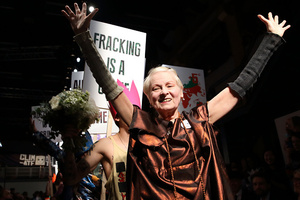 Vivienne Westwood turns catwalk into protest march