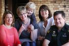Vanessa McCall, Lucy Knight, Max (3), Hazel James and ambulance officer Phil Hewetson. Photo / Doug Sherring