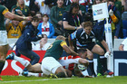 Karne Hesketh of Japan scores the winning try during the 2015 Rugby World Cup Pool B match against South Africa. Photo / Getty Images