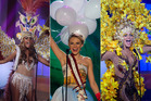 Miss Aruba, Miss Germany and Miss Venezuela wearing their national costumes. Photos / AP