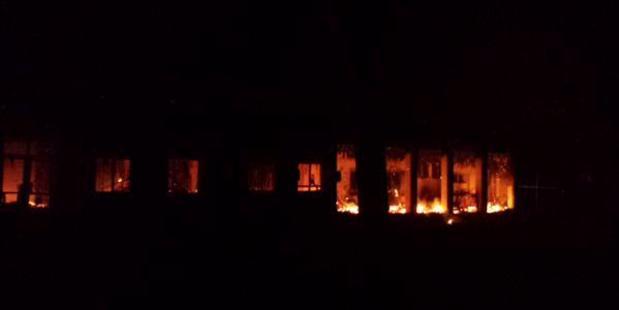 The Kunduz trauma centre burning after the bombing. Photo / MSF UK