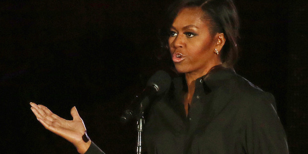 First lady Michelle Obama at the Global Citizen Festival in Central Park. Photo / AP