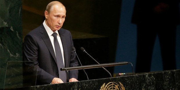 Russian President President Vladimir Putin addresses the 70th session of the United Nations General Assembly. Photo / AP