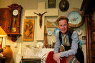 Scott Pothan ex WAM, at his house surrounded by arty quirky stuff 18 September 2015 Northern Advocate photograph by John Stone NAG 19Sep15 - NAG 19Sep15 - AT HOME: The Christ figure o