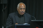 Buddy Mikaere addresses the panel at yesterday's Rena hearings. Photo / John Borren.