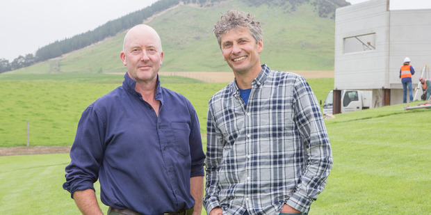 Grand Designs New Zealand host Chris Moller with the star of last night's episode Lachlan McDonald.