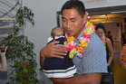 Jerry Collins with daughter Ayla and partner Alana Madill in the background. Photo / Supplied