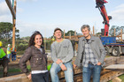 Morella Lascurain and partner Marty Verry with Grand Designs NZ host Chris Moller. Photo / Supplied