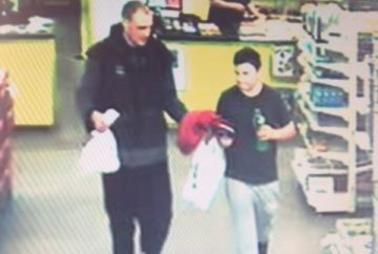 CCTV images captured on Monday evening of missing boy Alex Fisher and his brother Eric. Photo / Supplied