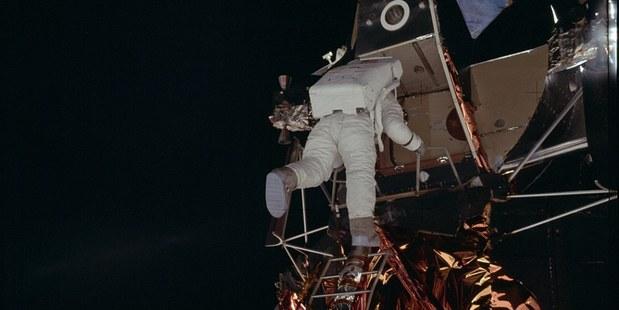 Photographs presumably taken by Neil Armstrong show Buzz Aldrin exiting from the Apollo Lunar Module. Photo / NASA/Flickr