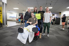 Mark Somervell was greeted by his friends on his return to New Zealand. Photo / Michael Craig