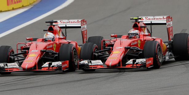 Ferrari drivers Sebastian Vettel and Kimi Raikkonen during the Formula One Russian Grand Prix in Sochi. Photo / AP