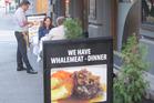 Whale meat on the menu at Nilsen Spiseri restaurant in Oslo, Norway.