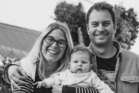 Justin Aitken and his wife and daughter. Photo / Supplied