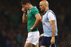 Johnny Sexton limped off the field in Ireland's win over France. Photo / Getty