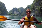 A kayak provides a unique perspective on the rocky outcrops around Cat Ba Island, in Vietnam. Photo / Supplied
