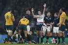 Craig Joubert awards a penalty to Australia in the dying seconds of the quarter final against Scotland. Photo / Getty Images