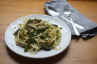 Asparagus and herb spaghetti. Photo / Doug Sherring