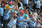 Argentina fans cheer on their side during the Rugby World Cup. Photo / AP