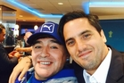 Legends both, Diego Maradona, left, and Agustin Pichot. Photo / Facebook