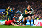 Fourie Du Preez of South Africa scores the winning try to send his side into the Rugby World Cup 2015 semifinals. Photo / Getty